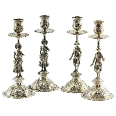 Set of 4 Antique 800 Silver Hanau Germany Figural Rococo Candle Sticks