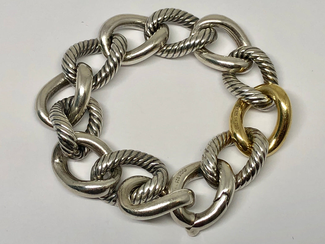 "David Yurman Sterling Silver & 18K Gold Two Tone Curb Chain Link Bracelet 7.6"" - Queen May"