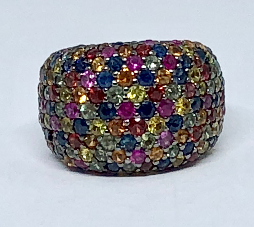 EFFY Sterling Silver Multi-Color Sapphire Splash Large Dome Ring Size 7 - Queen May