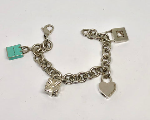 Tiffany & Co Sterling Silver Charm Bracelet w/ 4 Charms 7.25""