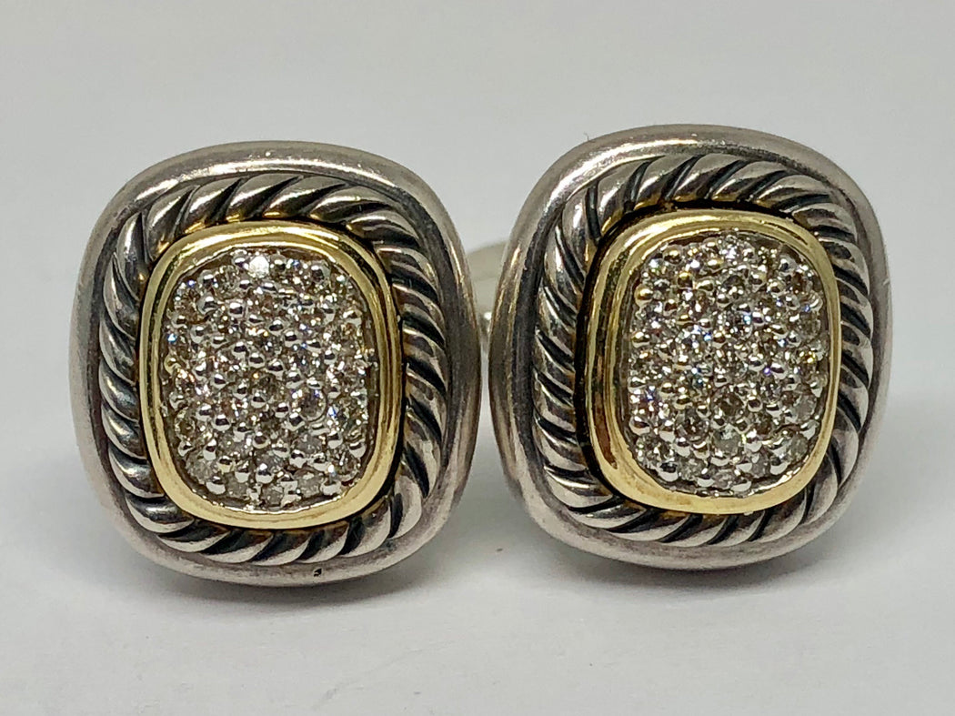 David Yurman Pave Diamond Albion Sterling Silver 18K Gold Earrings - Queen May