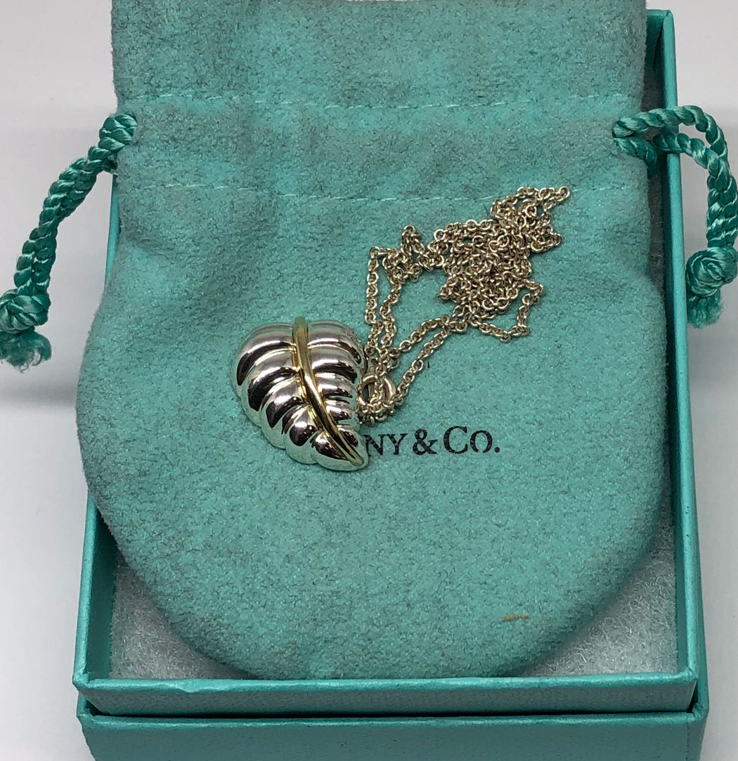 Tiffany & Co Sterling Silver & 18K Gold Leaf Necklace - Queen May