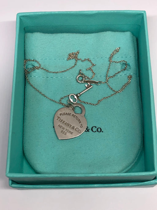 Return to Tiffany & Co Sterling Silver Medium Heart Tag w/ Key Necklace