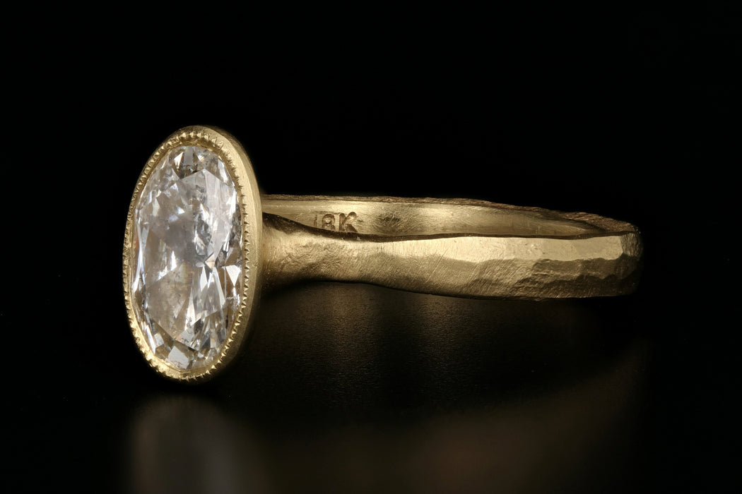 Jennifer Dawes 18K Yellow Gold Etruscan 1.08 Oval Diamond Solitaire Ring - Queen May