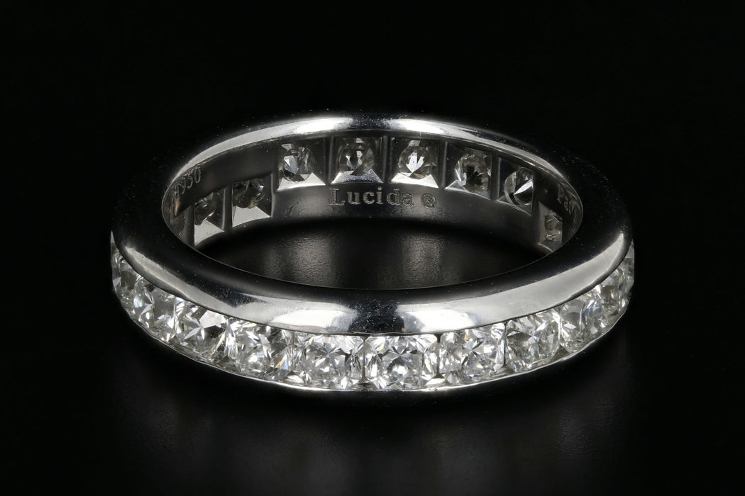 Tiffany & Co Lucida Platinum Diamond Eternity Band Ring 3 CTW Size 6 - Queen May