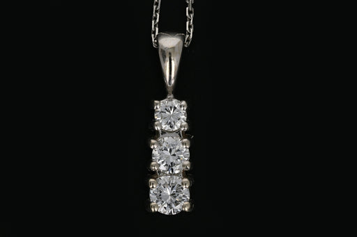 14K White Gold .25 Carat 3 Stone Diamond Pendant Necklace - Queen May