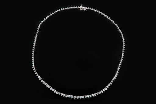 Vintage 14K White Gold 8 Carat Total Weight Diamond Tennis Necklace