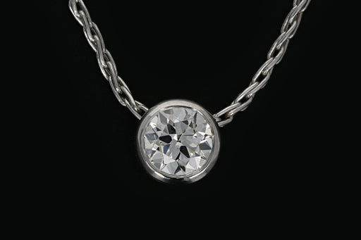 14K White Gold .80 Old European Cut Diamond Necklace - Queen May