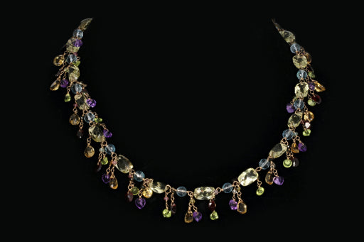 14K Yellow Gold Multi Gemstone Necklace - Queen May