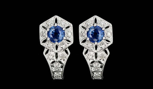 Modern 14K White Gold .60 Carat Natural Sapphire and Diamond Earrings - Queen May