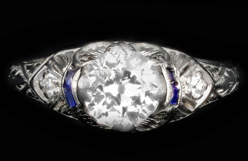 Art Deco Platinum .90 CTR Old European Cut Diamond Engagement Ring - Queen May