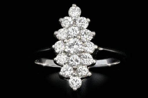 Modern 14K White Gold .85 CTW Round Diamond Ring - Queen May