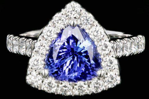 Modern 14K White Gold 1.72 Carat Trillion Cut Tanzanite Diamond Halo Ring - Queen May