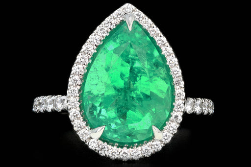 New Platinum 5 Carat Colombian Pear Cut Emerald Diamond Halo Ring - Queen May