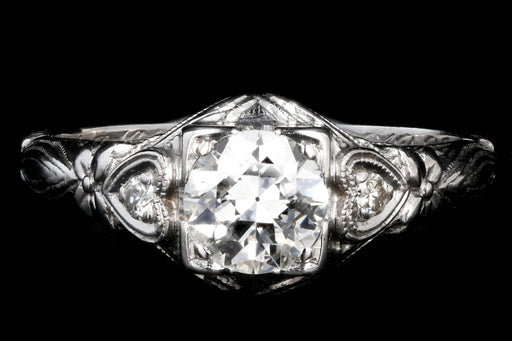 Art Deco 18k white gold .75CT Old European Cut Diamond Ring - Queen May