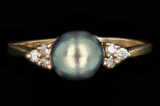 Modern 14K Yellow Gold 7mm Pearl and Diamond Ring - Queen May