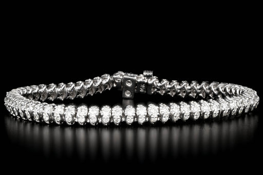 Modern 14K White Gold 5 CTW Round Brilliant Cut Diamond Bracelet - Queen May