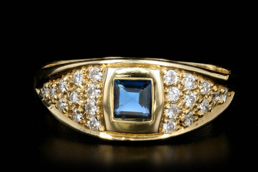 Modern Yellow Gold Sapphire and Diamond Ring - Queen May