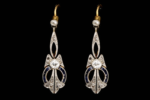 Edwardian French 18K Yellow Gold & Platinum Diamond and Sapphire Earrings - Queen May