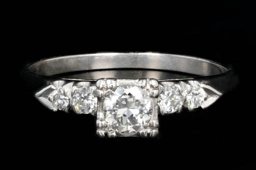 Mid Century Platinum .26CTR Transition Cut Diamond Engagement Ring .41CTW - Queen May