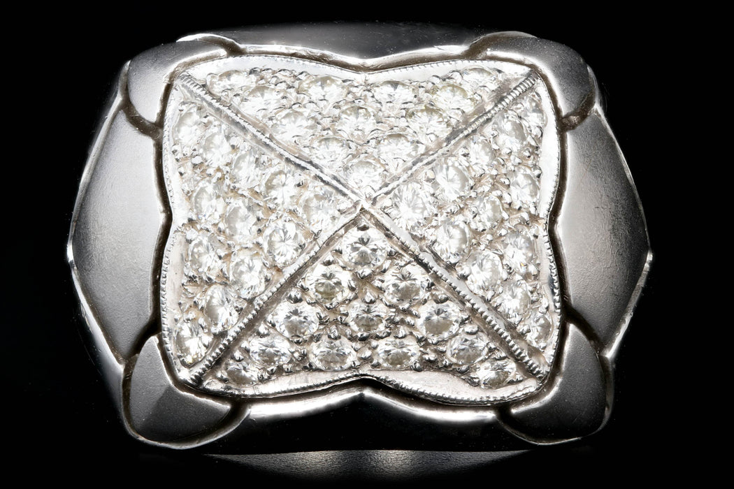 18K Brushed White Gold 1.2 CTW Pave Set Diamond Dome Ring - Queen May