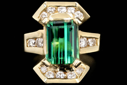 Vintage 14K Yellow Gold 1.6 CTR Green Tourmaline and Diamond Ring - Queen May