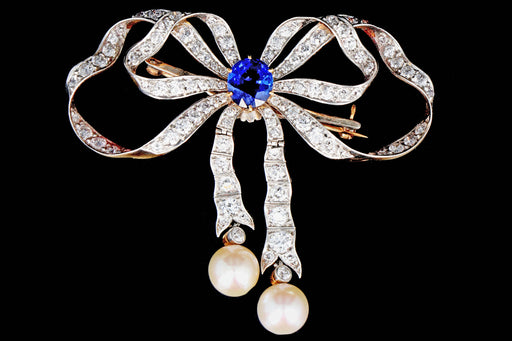 Edwardian Platinum on Yellow Gold 2.65 Carat Sapphire, Diamond, and Pearl Brooch - Queen May