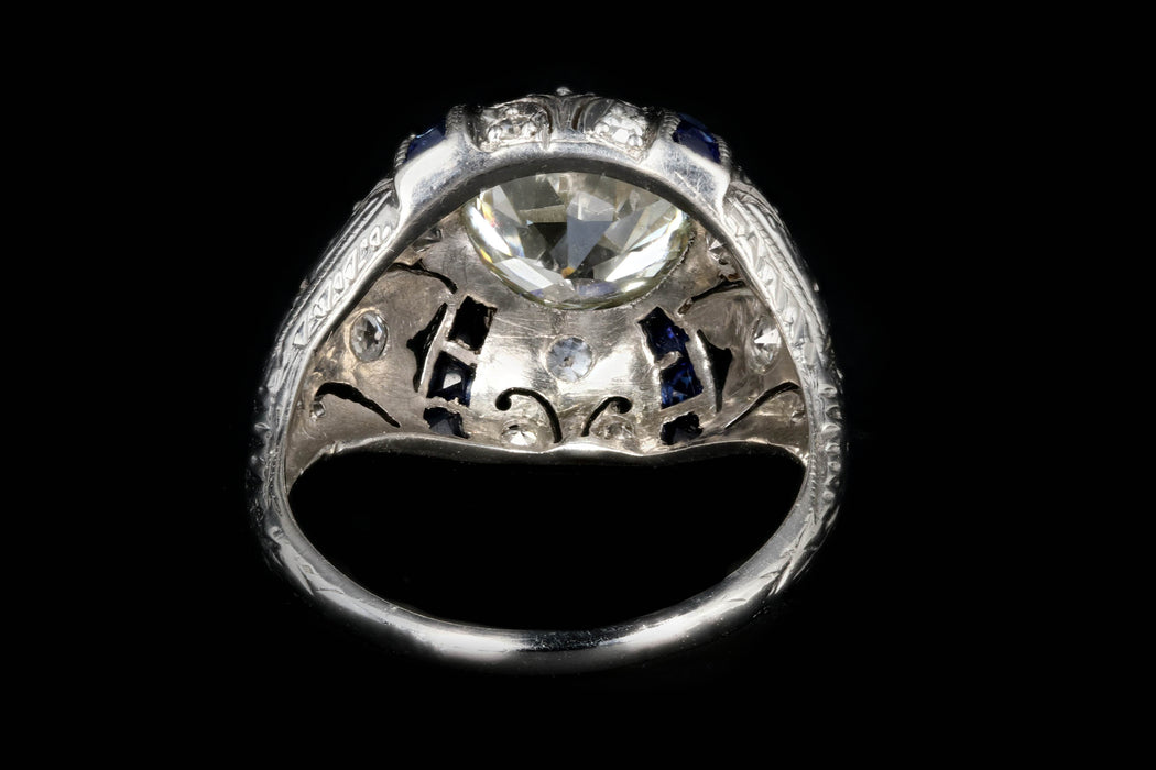 Art Deco Platinum 2 CTR Old European Cut Diamond And French Cut Sapphires Engagement Ring GIA Certified - Queen May