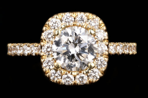 New 18K Yellow Gold 1.31 CT Round Brilliant Cut Diamond Engagement Ring GIA Certified - Queen May