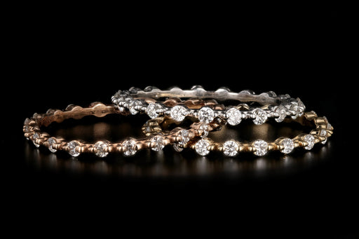 New 18K Yellow Gold/ White Gold/ Rose Gold .35 CTW Stackable Eternity Bands - Queen May