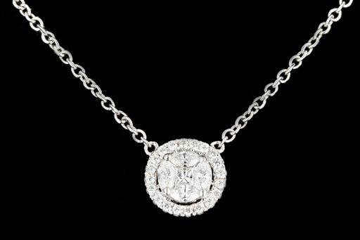 Modern 14K White Gold Diamond Cluster Pendant Necklace - Queen May