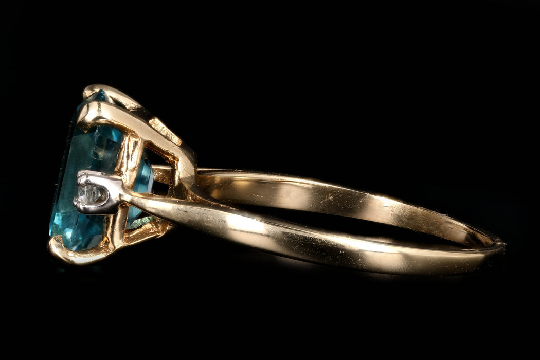 Modern 14K Yellow Gold 5 CT Emerald Cut Blue Zircon and Diamond Ring - Queen May