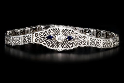 Art Deco 10K White Gold Sapphire and Diamond Filigree Bracelet - Queen May