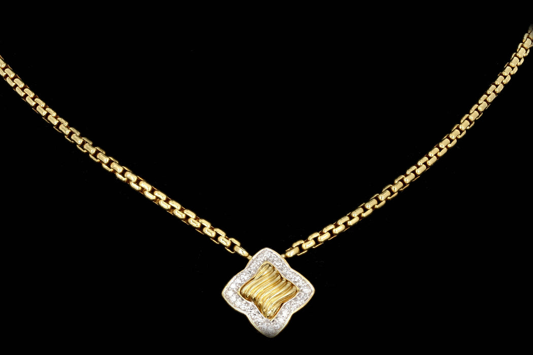 Modern David Yurman Quatrefoil 18K Yellow Gold and Diamond Pendant Necklace - Queen May