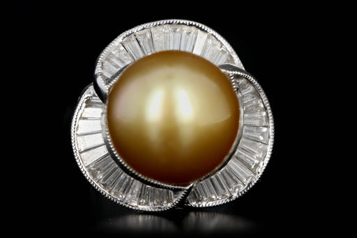 Modern 18K White Gold 13 MM Golden South Sea Pearl and Diamond Ring - Queen May