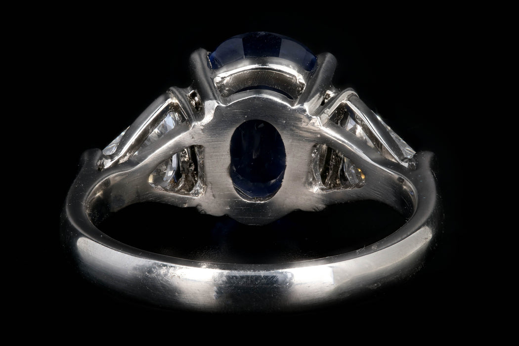 Modern Platinum 3.6 CT Oval Cut No Heat Ceylon Sapphire and Diamond Ring - Queen May