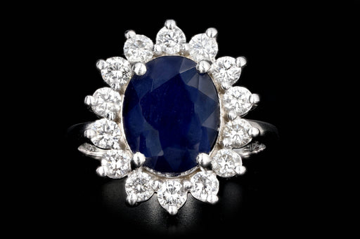 Modern Effy 14K White Gold 3 CT Oval Sapphire and Diamond Ring - Queen May