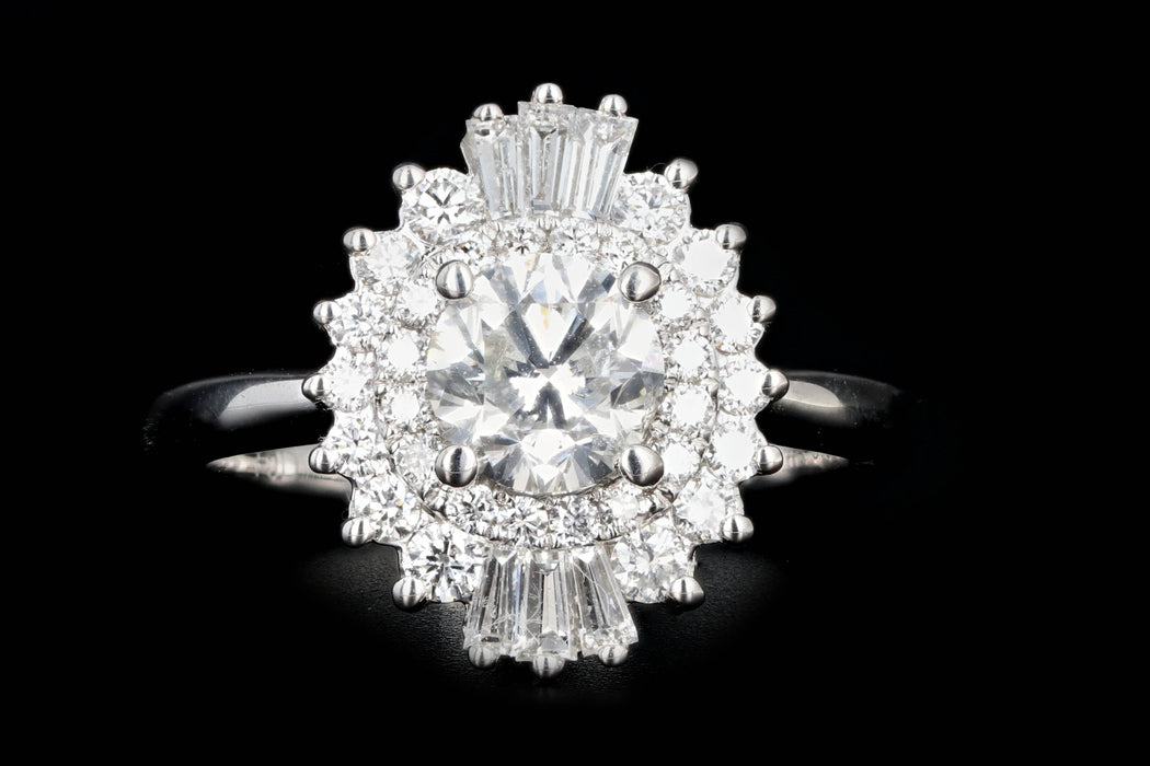 New 14K White Gold 1.01 Round Brilliant Cut Diamond Engagement Ring - Queen May