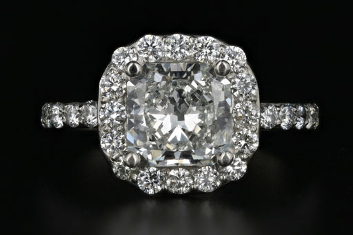 Platinum 2.11 Carat Radiant Diamond Halo Engagement Ring GIA Certified - Queen May