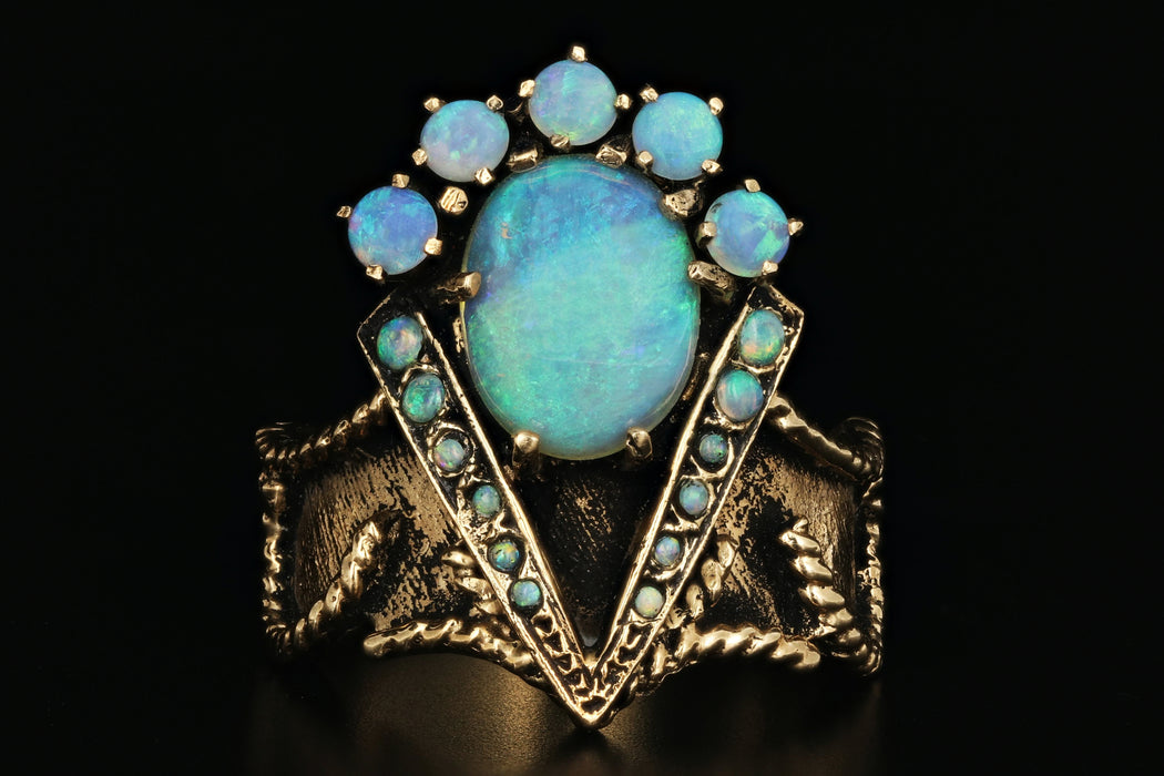 14K Yellow Gold Majestic Opal Ring - Queen May