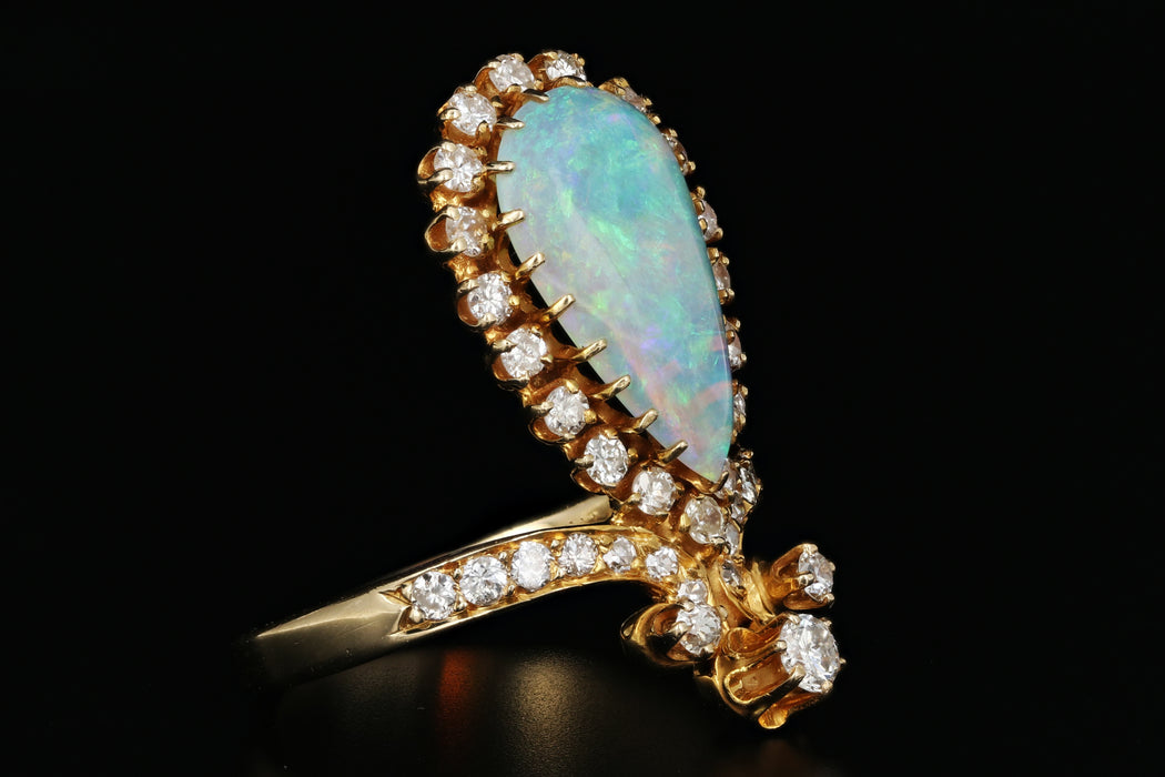 14K Gold Opal & Diamond Tiara Ring - Queen May