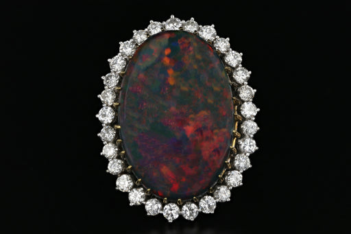 14K White Gold Australian Black Opal Doublet and Diamond Ring - Queen May