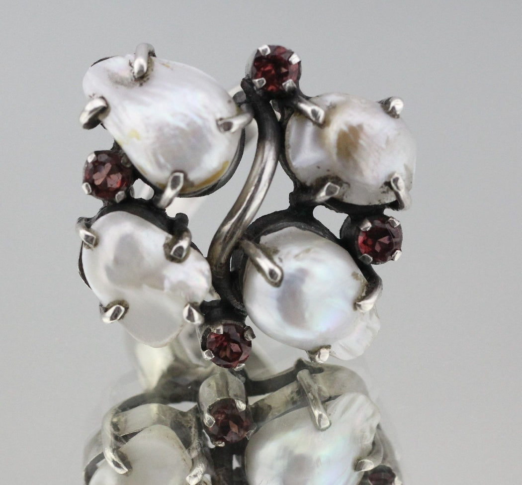 Chunky Sterling Silver and Large Baroque Pearl & Garnet Custom Made Ring - Queen May