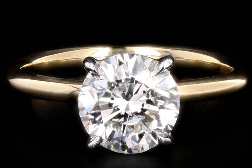 New Handmade 18K Yellow Gold & Platinum 2.08 Carat Round Brilliant Cut Diamond Engagement Ring - Queen May