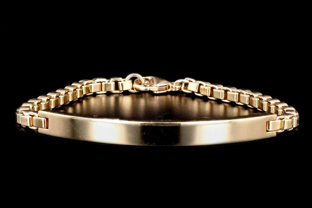 Modern Tiffany & Co. 18K Yellow Gold Box Chain ID Bracelet - Queen May