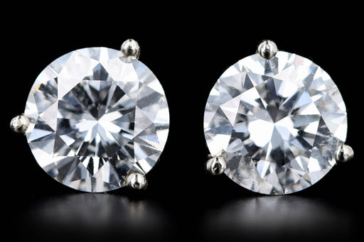 New 14K White Gold 3.06 Carat Round Brilliant Cut Diamond Martini Stud Earrings GIA Certified - Queen May