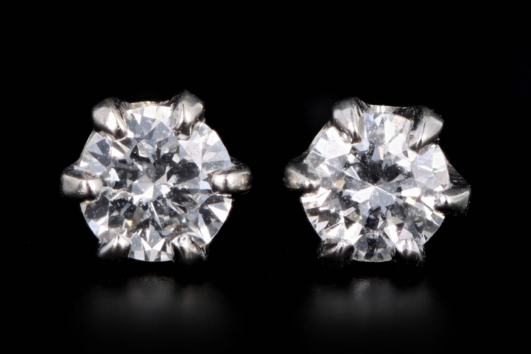Modern 14K White Gold .20 Carat Round Brilliant Cut Diamond Stud Earrings - Queen May