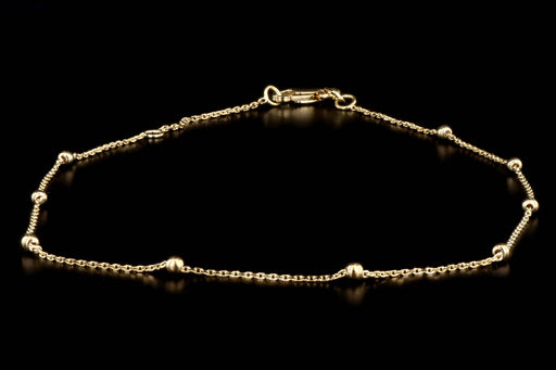 New 14K Yellow Gold Bead Station Anklet - Queen May