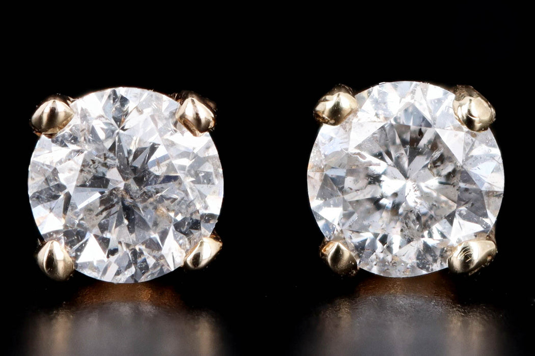 Modern 14K Yellow Gold .30 Carat Round Brilliant Cut Diamond Stud Earrings - Queen May