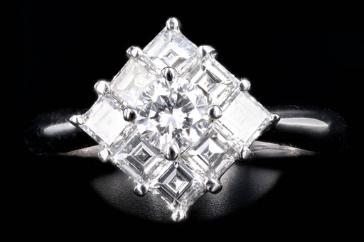 Modern Platinum .31 Carat Round Brilliant & Asscher Cut Diamond Ring - Queen May